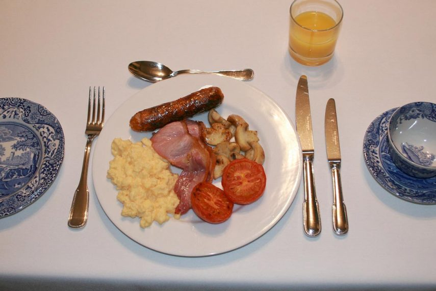 Full English breakfast at West Acre House