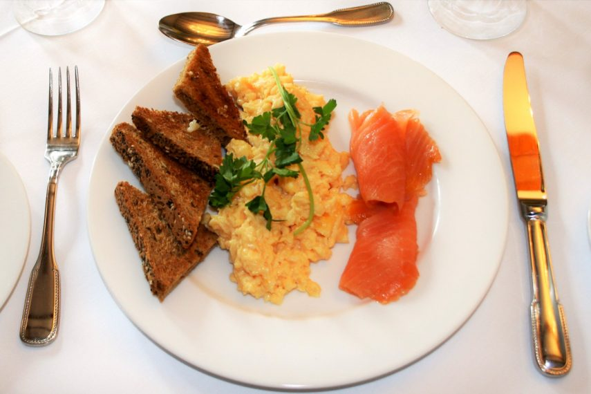Scrambled egg + smoked salmon at West Acre House
